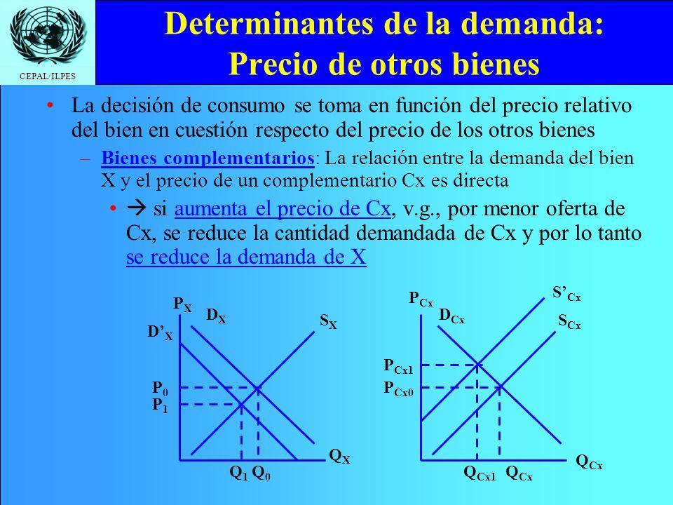 CEPAL/ILPES Determinantes de la demanda: Precio de otros bienes La decisión de consumo se toma en función del precio relativo del bien en cuestión res