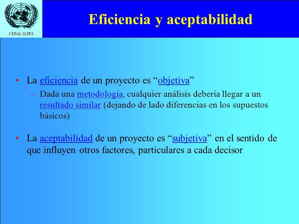 CEPAL/ILPES Eficiencia y aceptabilidad La eficiencia de un proyecto es objetiva –Dada una metodología, cualquier análisis debería llegar a un resultad