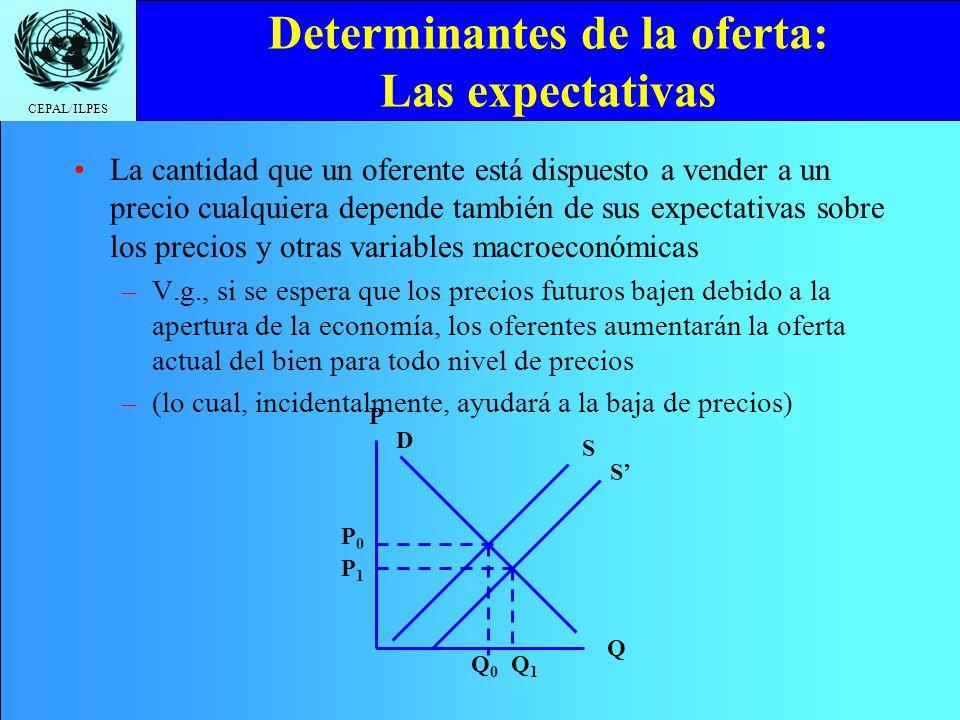 CEPAL/ILPES Determinantes de la oferta: Las expectativas La cantidad que un oferente está dispuesto a vender a un precio cualquiera depende también de