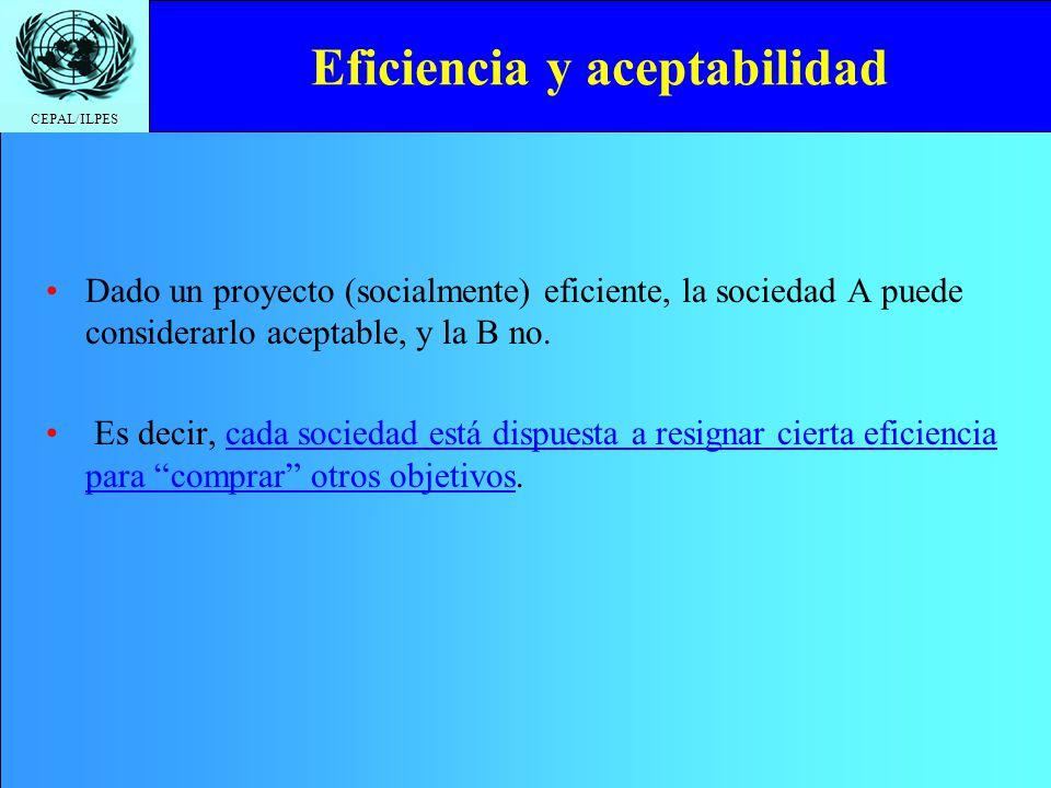 CEPAL/ILPES Eficiencia y aceptabilidad Dado un proyecto (socialmente) eficiente, la sociedad A puede considerarlo aceptable, y la B no. Es decir, cada