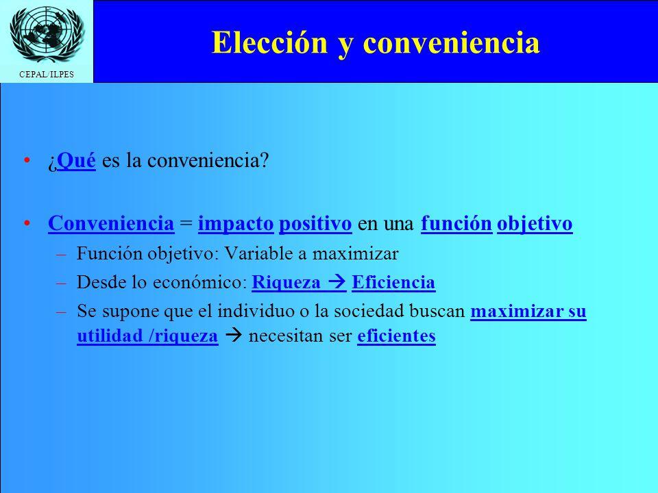 CEPAL/ILPES ¿Qué es la conveniencia? Conveniencia = impacto positivo en una función objetivo –Función objetivo: Variable a maximizar –Desde lo económi