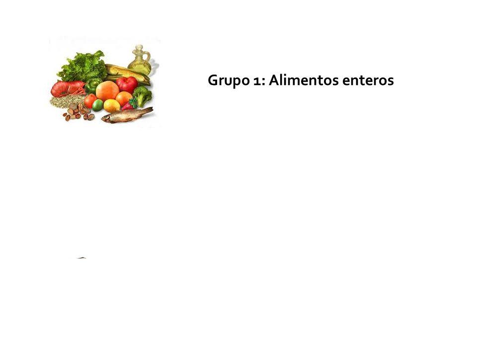Grupo 1: Alimentos enteros Grupo 2: Ingredientes culinarios Grupo 3: Productos comestibles procesados