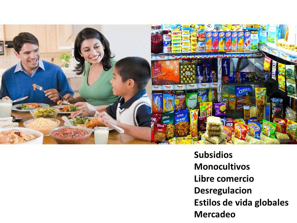 Subsidios Monocultivos Libre comercio Desregulacion Estilos de vida globales Mercadeo