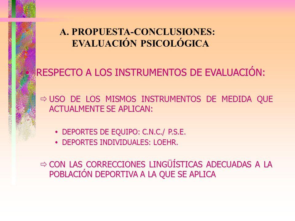 A. PROPUESTA-CONCLUSIONES: EVALUACIÓN PSICOLÓGICA RESPECTO A LOS INSTRUMENTOS DE EVALUACIÓN:RESPECTO A LOS INSTRUMENTOS DE EVALUACIÓN: USO DE LOS MISM