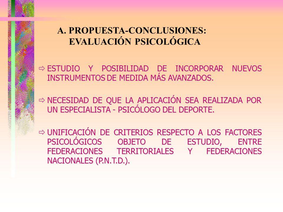 A. PROPUESTA-CONCLUSIONES: EVALUACIÓN PSICOLÓGICA ESTUDIO Y POSIBILIDAD DE INCORPORAR NUEVOS INSTRUMENTOS DE MEDIDA MÁS AVANZADOS. ESTUDIO Y POSIBILID