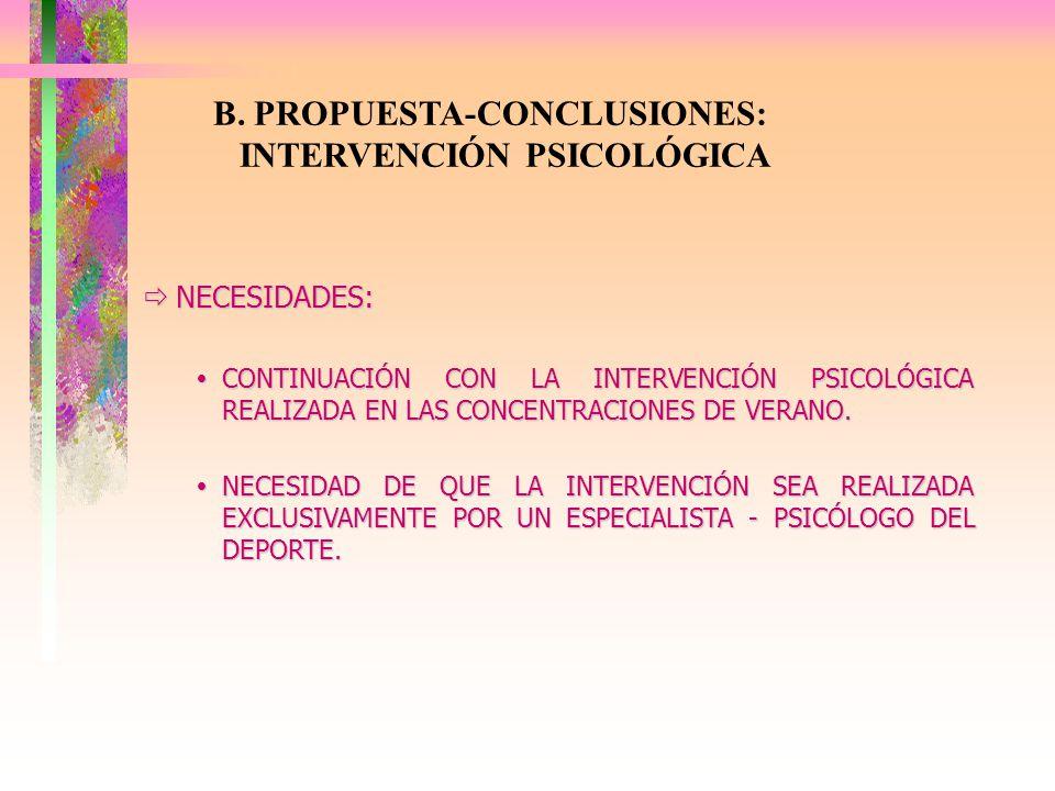 B. PROPUESTA-CONCLUSIONES: INTERVENCIÓN PSICOLÓGICA NECESIDADES: NECESIDADES: CONTINUACIÓN CON LA INTERVENCIÓN PSICOLÓGICA REALIZADA EN LAS CONCENTRAC