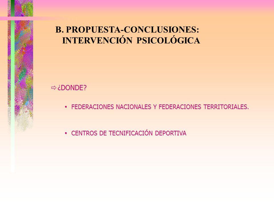 B. PROPUESTA-CONCLUSIONES: INTERVENCIÓN PSICOLÓGICA ¿DONDE? ¿DONDE? FEDERACIONES NACIONALES Y FEDERACIONES TERRITORIALES. FEDERACIONES NACIONALES Y FE
