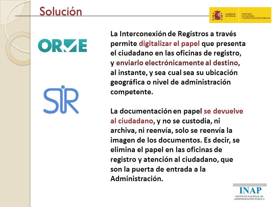 Solución La Interconexión de Registros a través permite digitalizar el papel que presenta el ciudadano en las oficinas de registro, y enviarlo electró