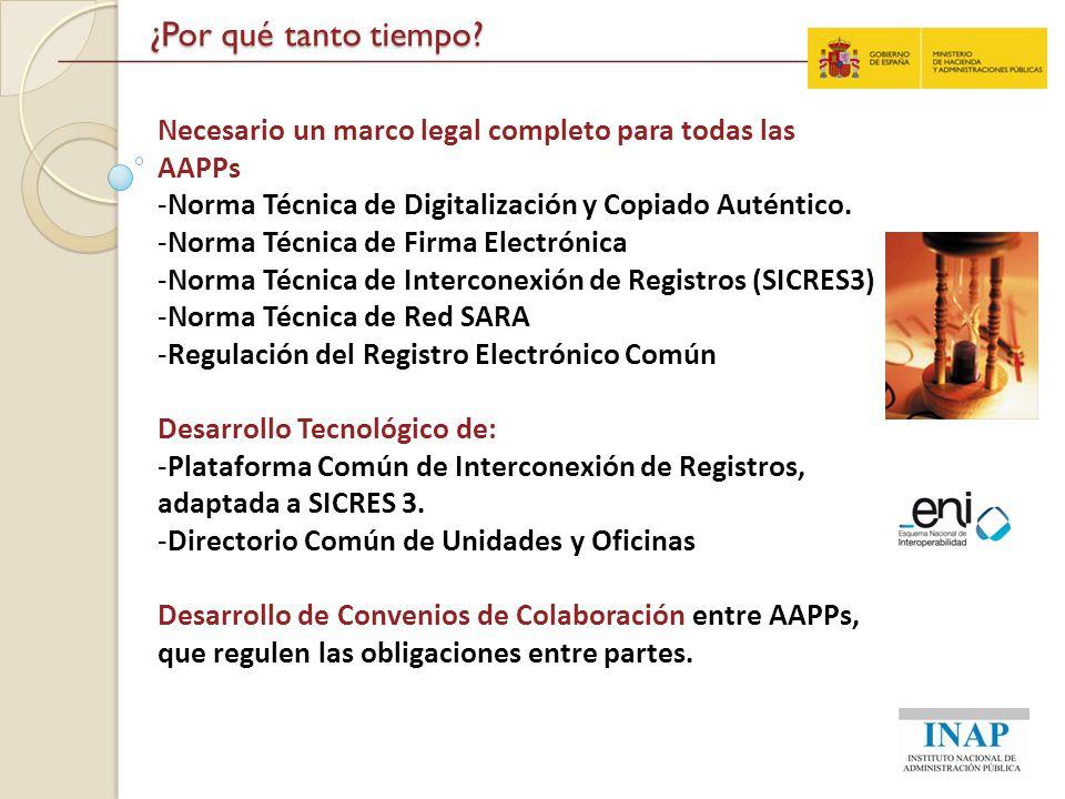 ¿Por qué tanto tiempo? Necesario un marco legal completo para todas las AAPPs -Norma Técnica de Digitalización y Copiado Auténtico. -Norma Técnica de