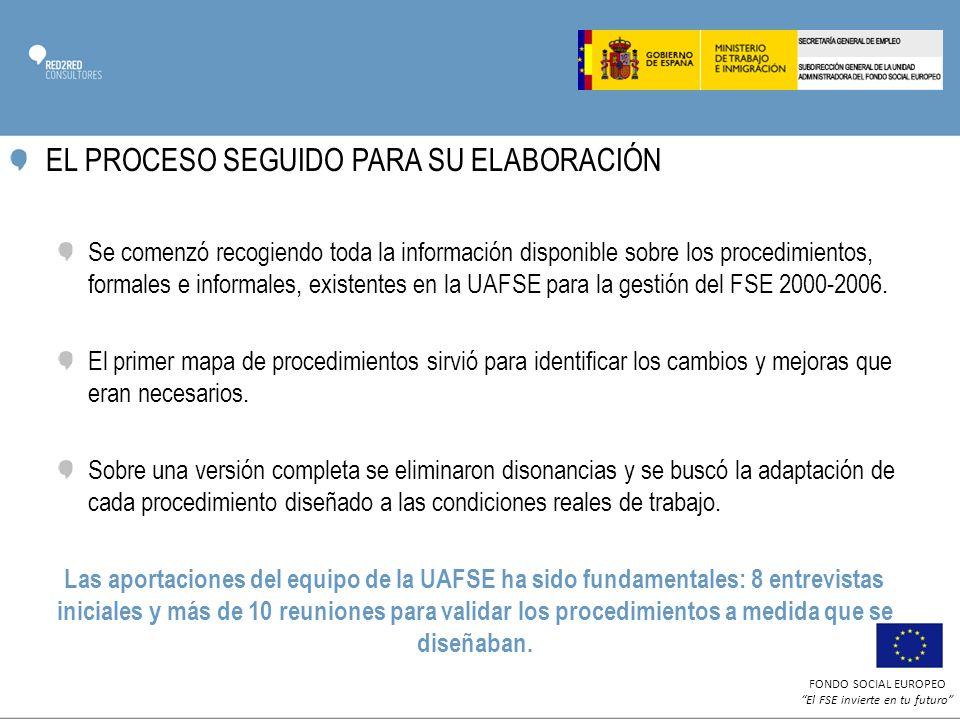 FONDO SOCIAL EUROPEO El FSE invierte en tu futuro EL PROCESO SEGUIDO PARA SU ELABORACIÓN Se comenzó recogiendo toda la información disponible sobre los procedimientos, formales e informales, existentes en la UAFSE para la gestión del FSE 2000-2006.