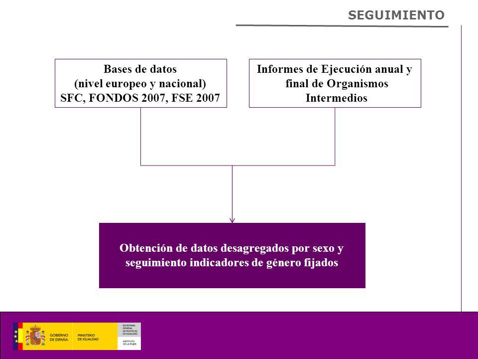 SEGUIMIENTO Bases de datos (nivel europeo y nacional) SFC, FONDOS 2007, FSE 2007 Informes de Ejecución anual y final de Organismos Intermedios Obtención de datos desagregados por sexo y seguimiento indicadores de género fijados