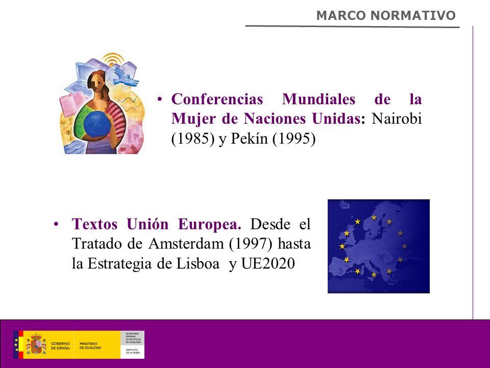 Conferencias Mundiales de la Mujer de Naciones Unidas: Nairobi (1985) y Pekín (1995) MARCO NORMATIVO Textos Unión Europea.