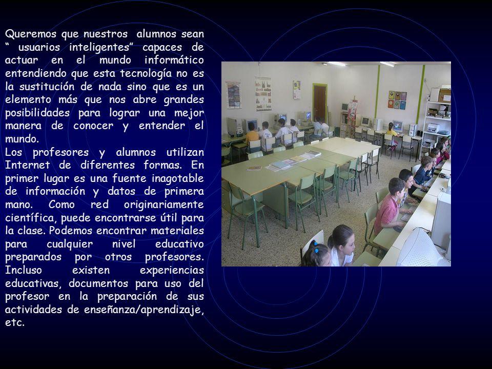 Nuestros alumnos han utilizado la red como medio de comunicación con otros colegios para realizar proyectos en común, intercambian datos sobre diferentes aspectos de su medio social, por ejemplo: Ø 1999.