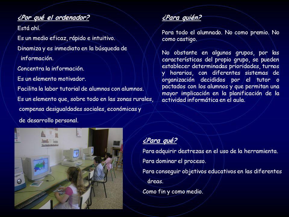 Reflexión y planificación Reunidos todo el profesorado se determinaron los objetivos y la metodología a seguir: Entendemos el ordenador como un recurso más.