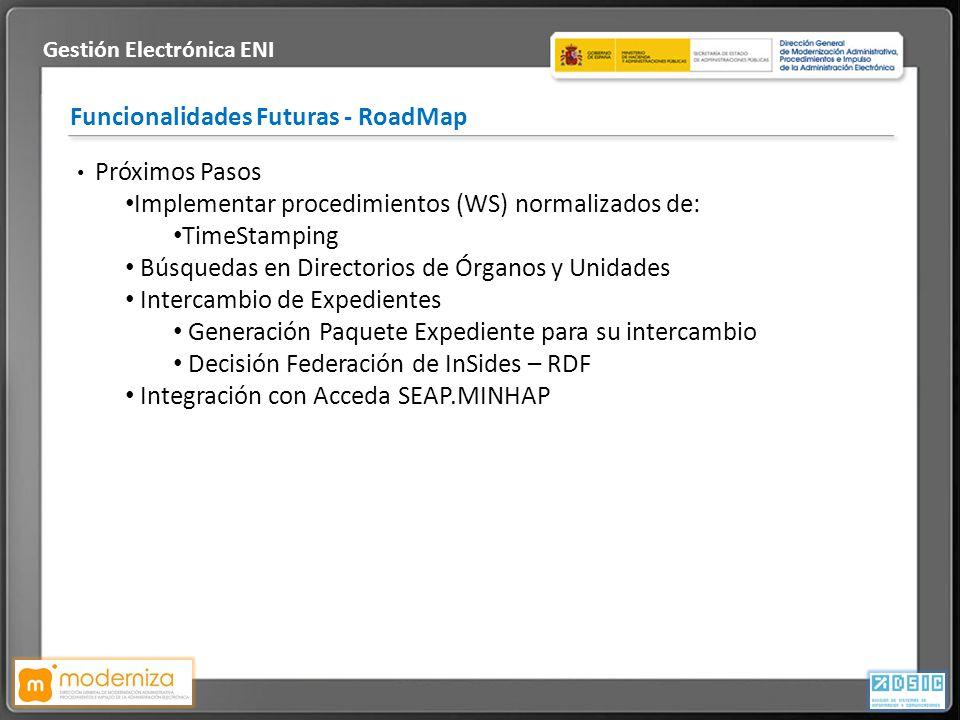 Título de la presentación · Fecha Funcionalidades Futuras - RoadMap Gestión Electrónica ENI Próximos Pasos Implementar procedimientos (WS) normalizado