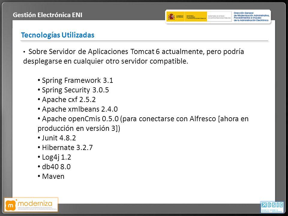 Título de la presentación · Fecha Tecnologías Utilizadas Gestión Electrónica ENI Sobre Servidor de Aplicaciones Tomcat 6 actualmente, pero podría desp