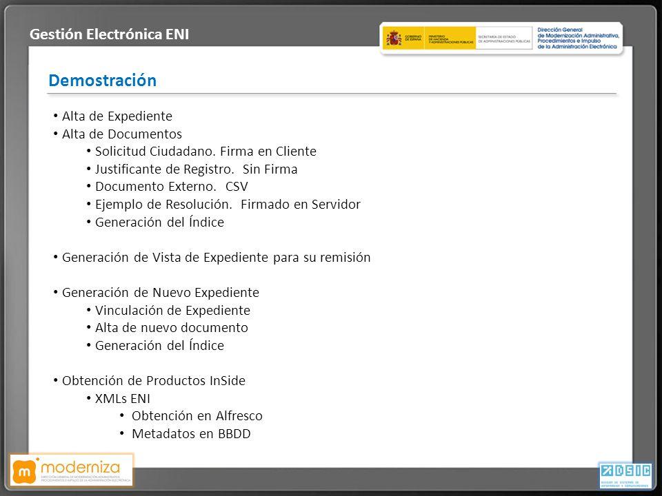 Título de la presentación · Fecha Demostración Gestión Electrónica ENI Alta de Expediente Alta de Documentos Solicitud Ciudadano. Firma en Cliente Jus