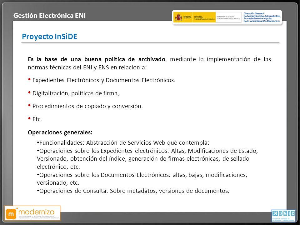 Título de la presentación · Fecha Proyecto InSiDE Es la base de una buena política de archivado, mediante la implementación de las normas técnicas del