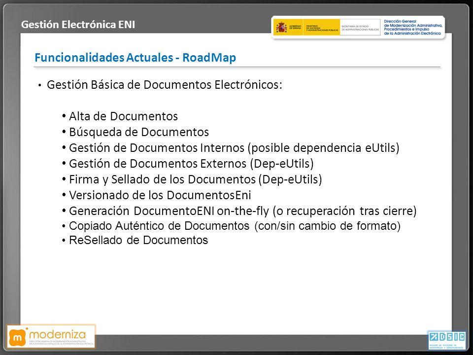 Título de la presentación · Fecha Funcionalidades Actuales - RoadMap Gestión Electrónica ENI Gestión Básica de Documentos Electrónicos: Alta de Docume