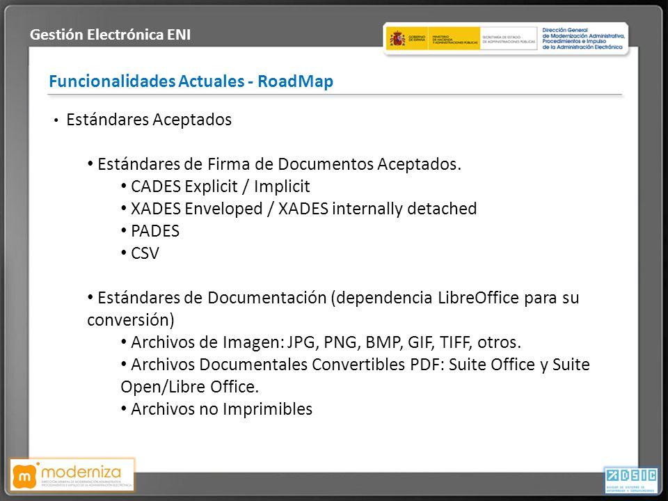 Título de la presentación · Fecha Funcionalidades Actuales - RoadMap Gestión Electrónica ENI Estándares Aceptados Estándares de Firma de Documentos Ac