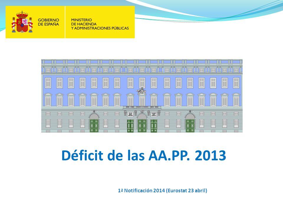 Déficit de las AA.PP. 2013 1ª Notificación 2014 (Eurostat 23 abril)