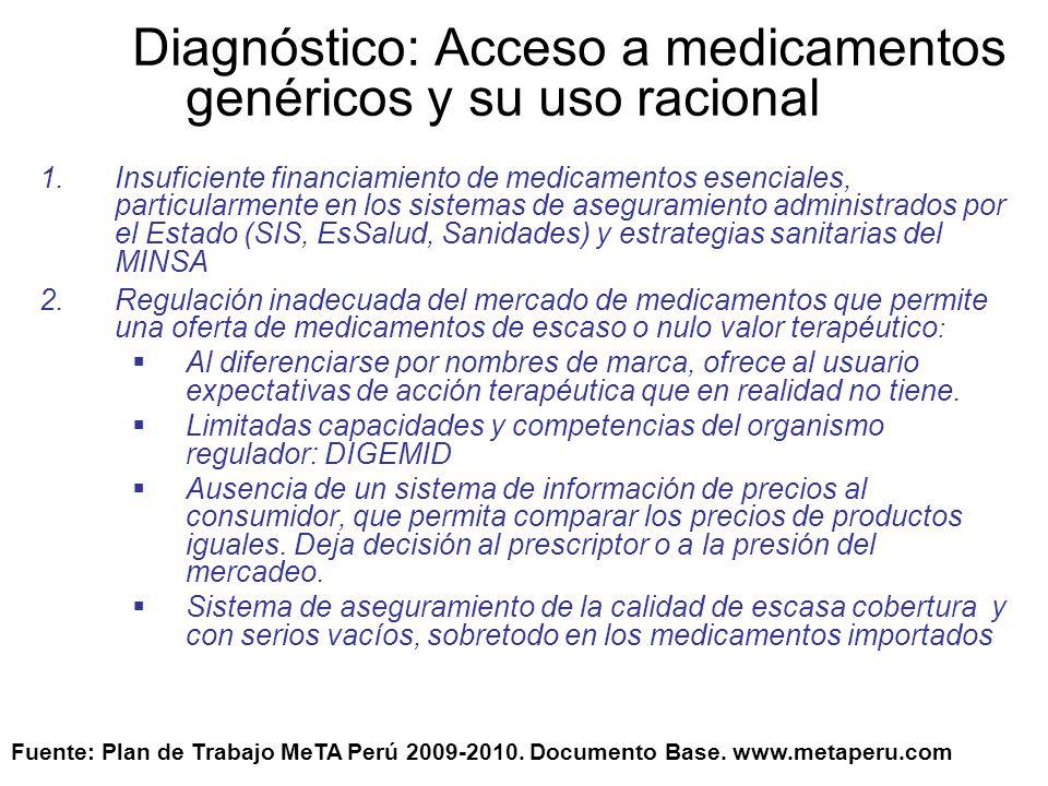 Diagnóstico: Acceso a medicamentos genéricos y su uso racional 3.Inexistencia de una entidad/organismo/institución que articule los procesos de adquisición y distribución de medicamentos en sector público.