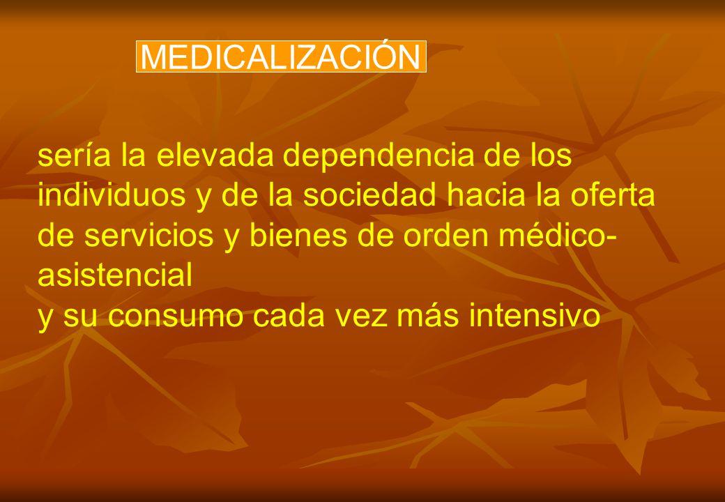 sería la elevada dependencia de los individuos y de la sociedad hacia la oferta de servicios y bienes de orden médico- asistencial y su consumo cada vez más intensivo MEDICALIZACIÓN