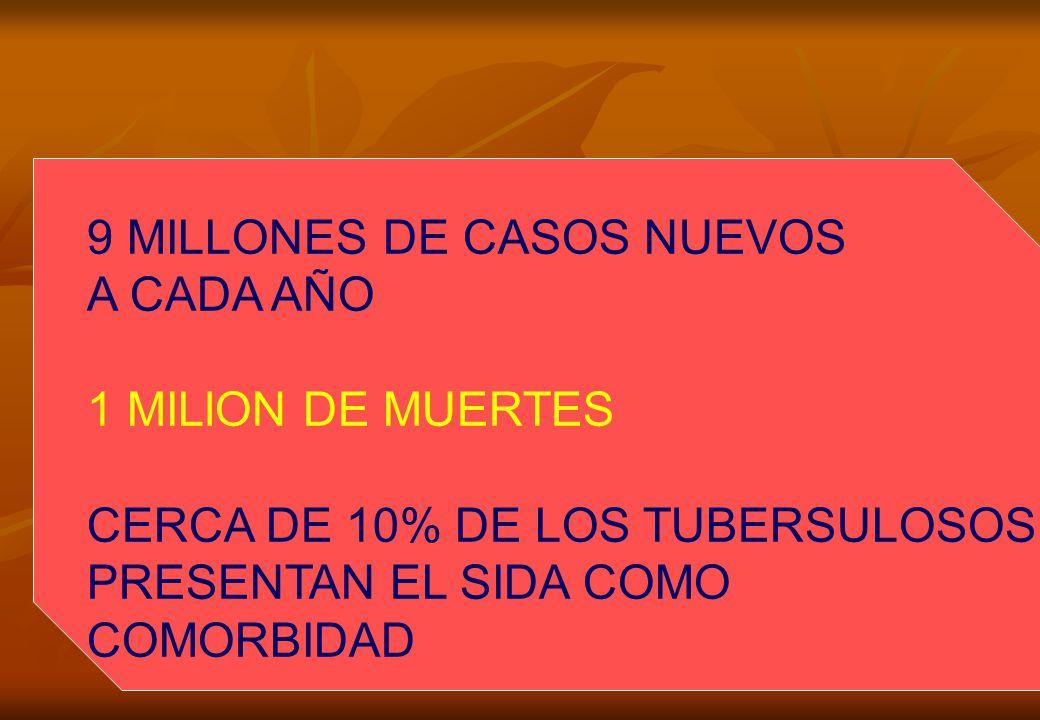 9 MILLONES DE CASOS NUEVOS A CADA AÑO 1 MILlON DE MUERTES CERCA DE 10% DE LOS TUBERSULOSOS PRESENTAN EL SIDA COMO COMORBIDAD