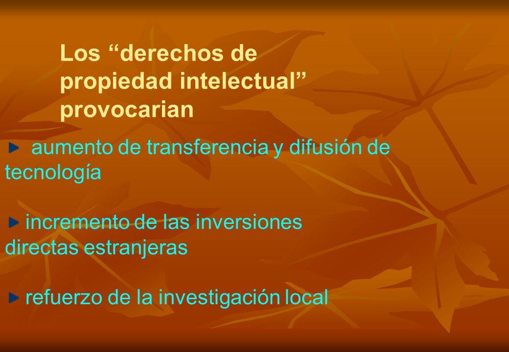 aumento de transferencia y difusión de tecnología incremento de las inversiones directas estranjeras refuerzo de la investigación local Los derechos de propiedad intelectual provocarian