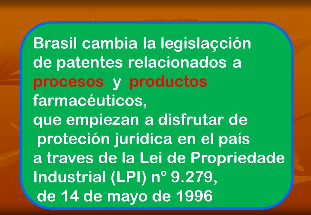 Brasil cambia la legislaçción de patentes relacionados a procesos y productos farmacéuticos, que empiezan a disfrutar de proteción jurídica en el país a traves de la Lei de Propriedade Industrial (LPI) nº 9.279, de 14 de mayo de 1996