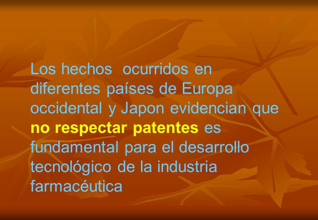 Los hechos ocurridos en diferentes países de Europa occidental y Japon evidencian que no respectar patentes es fundamental para el desarrollo tecnológico de la industria farmacéutica