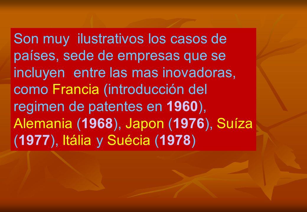 Son muy ilustrativos los casos de países, sede de empresas que se incluyen entre las mas inovadoras, como Francia (introducción del regimen de patentes en 1960), Alemania (1968), Japon (1976), Suíza (1977), Itália y Suécia (1978)
