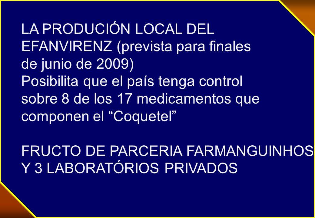 LA PRODUCIÓN LOCAL DEL EFANVIRENZ (prevista para finales de junio de 2009) Posibilita que el país tenga control sobre 8 de los 17 medicamentos que componen el Coquetel FRUCTO DE PARCERIA FARMANGUINHOS Y 3 LABORATÓRIOS PRIVADOS