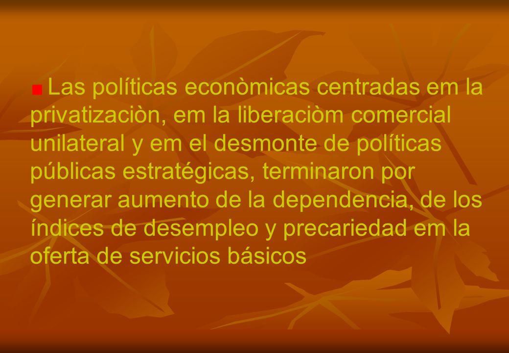 Las políticas econòmicas centradas em la privatizaciòn, em la liberaciòm comercial unilateral y em el desmonte de políticas públicas estratégicas, terminaron por generar aumento de la dependencia, de los índices de desempleo y precariedad em la oferta de servicios básicos