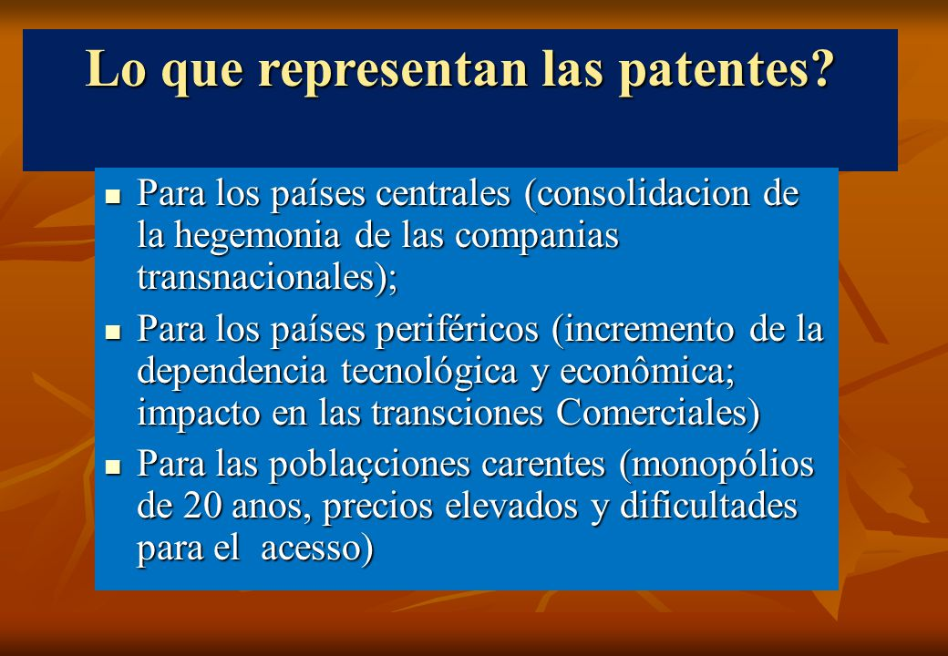 Lo que representan las patentes.