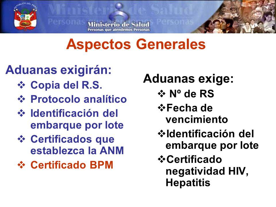 Aspectos Generales Aduanas exigirán: Copia del R.S.