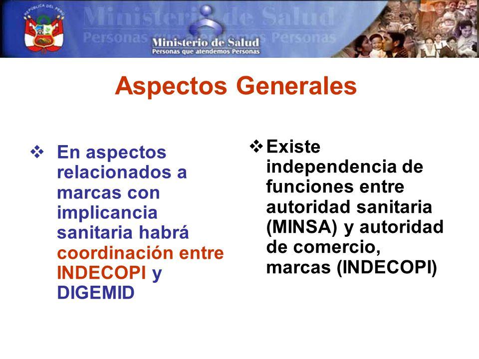 Aspectos Generales En aspectos relacionados a marcas con implicancia sanitaria habrá coordinación entre INDECOPI y DIGEMID Existe independencia de funciones entre autoridad sanitaria (MINSA) y autoridad de comercio, marcas (INDECOPI)
