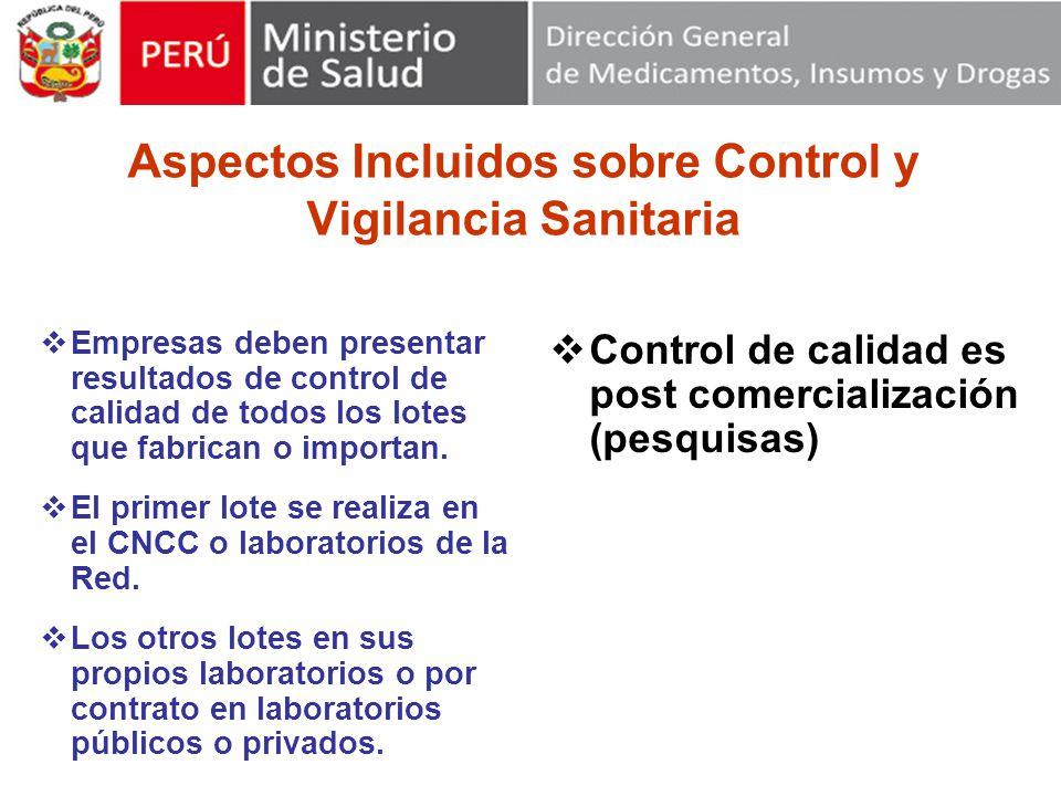 Aspectos Incluidos sobre Control y Vigilancia Sanitaria Empresas deben presentar resultados de control de calidad de todos los lotes que fabrican o importan.