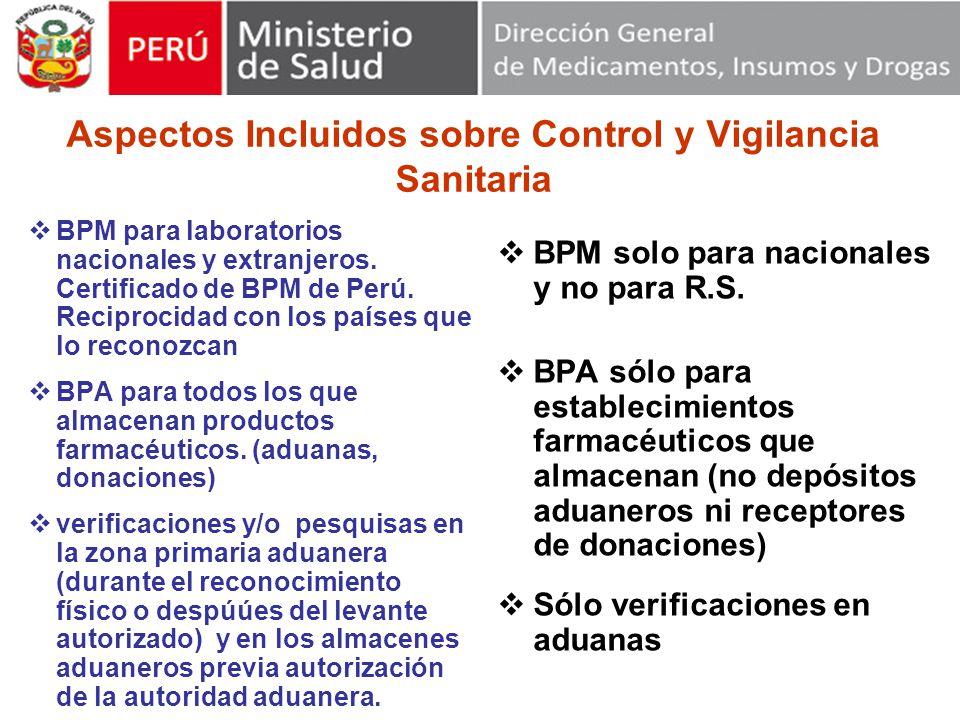Aspectos Incluidos sobre Control y Vigilancia Sanitaria BPM para laboratorios nacionales y extranjeros.
