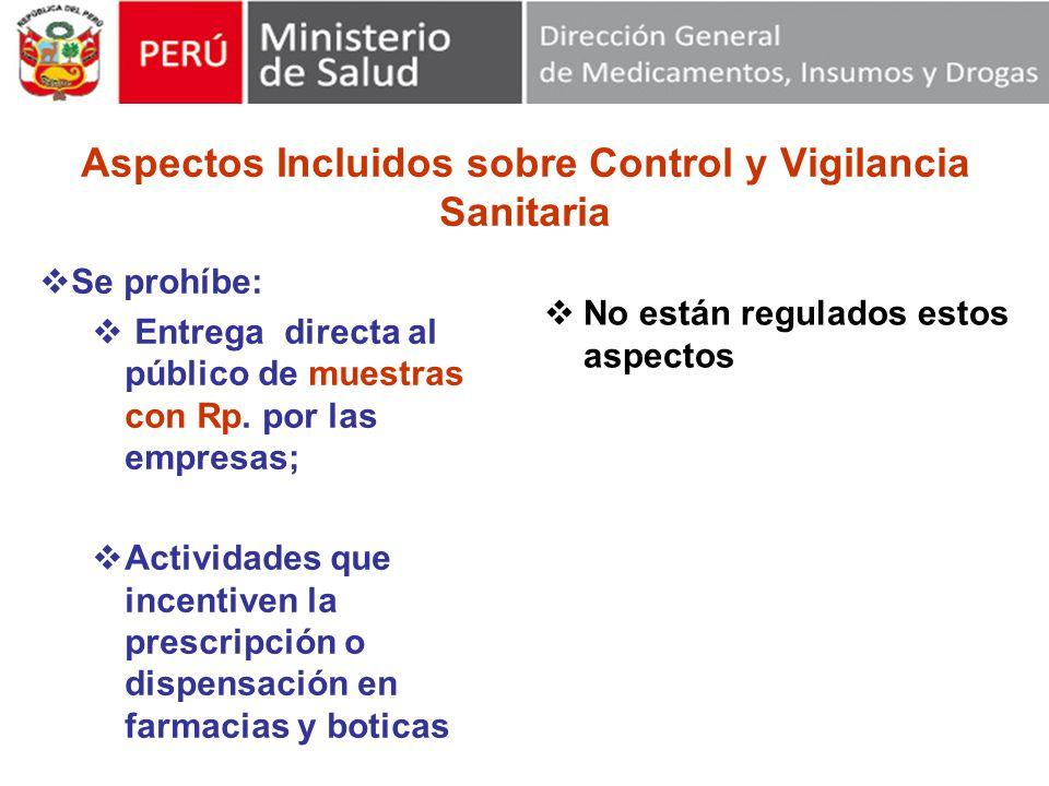 Aspectos Incluidos sobre Control y Vigilancia Sanitaria Se prohíbe: Entrega directa al público de muestras con Rp.