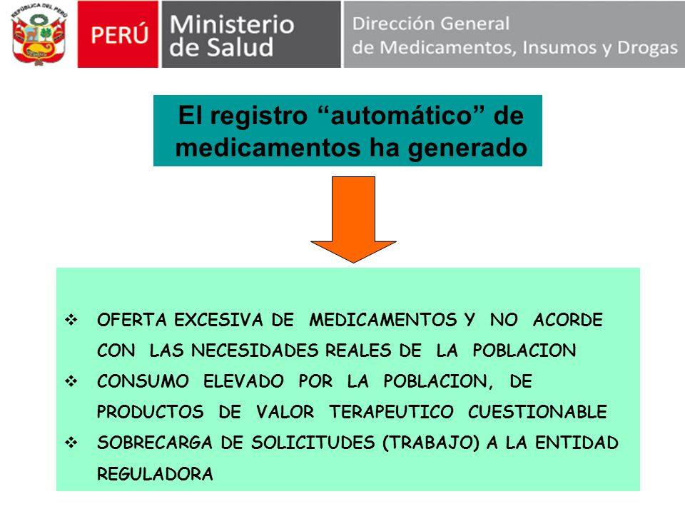 El registro automático de medicamentos ha generado OFERTA EXCESIVA DE MEDICAMENTOS Y NO ACORDE CON LAS NECESIDADES REALES DE LA POBLACION CONSUMO ELEVADO POR LA POBLACION, DE PRODUCTOS DE VALOR TERAPEUTICO CUESTIONABLE SOBRECARGA DE SOLICITUDES (TRABAJO) A LA ENTIDAD REGULADORA