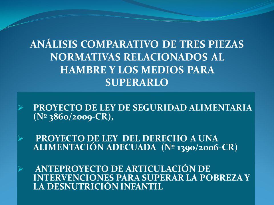 PROYECTO DE LEY DE SEGURIDAD ALIMENTARIA (Nº 3860/2009-CR), PROYECTO DE LEY DEL DERECHO A UNA ALIMENTACIÓN ADECUADA (Nº 1390/2006-CR) ANTEPROYECTO DE