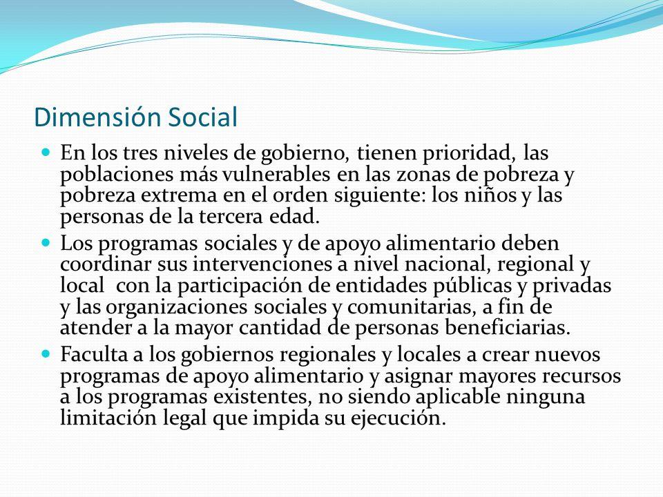 Dimensión Social En los tres niveles de gobierno, tienen prioridad, las poblaciones más vulnerables en las zonas de pobreza y pobreza extrema en el or