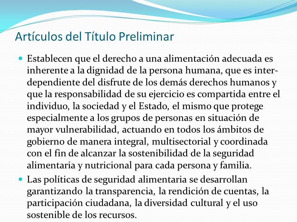 Artículos del Título Preliminar Establecen que el derecho a una alimentación adecuada es inherente a la dignidad de la persona humana, que es inter- d