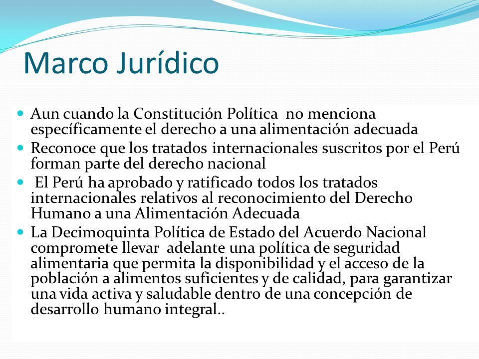 Marco Jurídico Aun cuando la Constitución Política no menciona específicamente el derecho a una alimentación adecuada Reconoce que los tratados intern