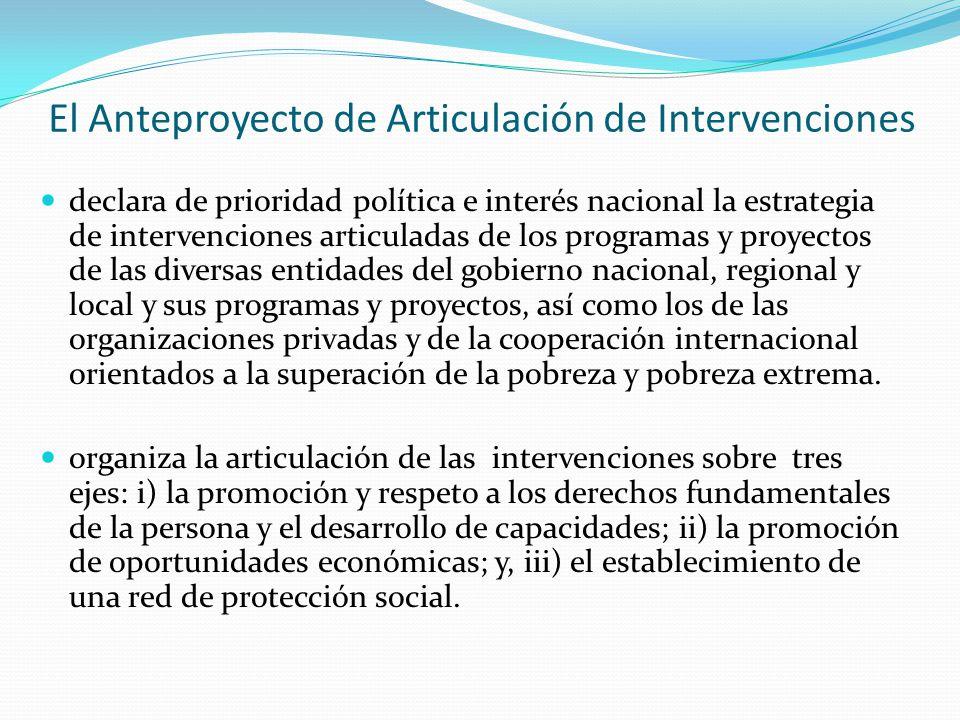 El Anteproyecto de Articulación de Intervenciones declara de prioridad política e interés nacional la estrategia de intervenciones articuladas de los