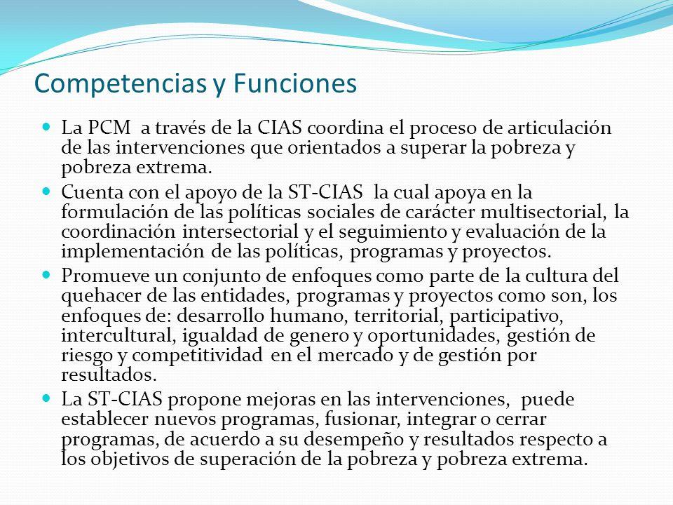 Competencias y Funciones La PCM a través de la CIAS coordina el proceso de articulación de las intervenciones que orientados a superar la pobreza y po