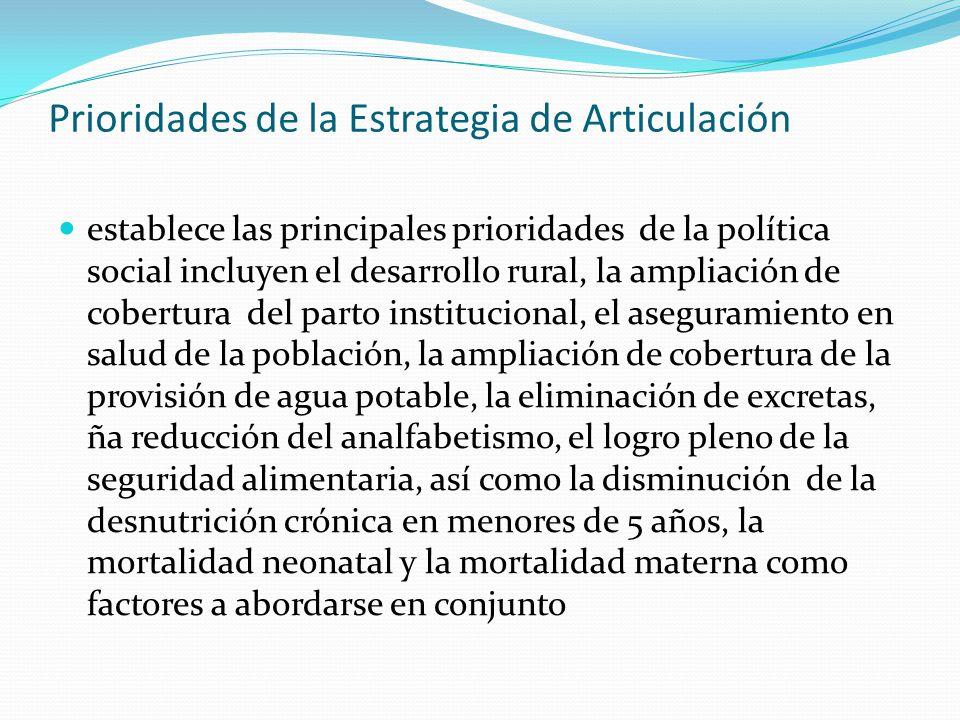 Prioridades de la Estrategia de Articulación establece las principales prioridades de la política social incluyen el desarrollo rural, la ampliación d
