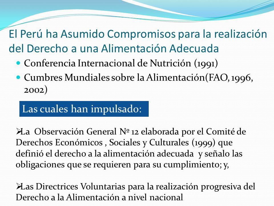 El Perú ha Asumido Compromisos para la realización del Derecho a una Alimentación Adecuada Conferencia Internacional de Nutrición (1991) Cumbres Mundi