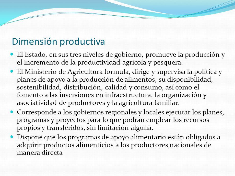 Dimensión productiva El Estado, en sus tres niveles de gobierno, promueve la producción y el incremento de la productividad agrícola y pesquera. El Mi